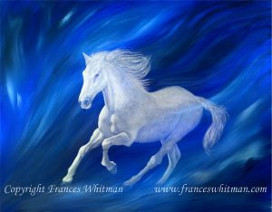 An intuitve art painting in  acrylics entitled 'Ghost' by artist Frances Whitman-medium